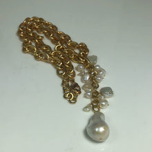 Load image into Gallery viewer, Natural Baroque Pearl Matte Gold Necklace; 18.5""