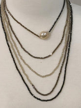 "Load image into Gallery viewer, Infinity 108"" Crystal Necklace with a baroque pearl focal: 6 Colors"