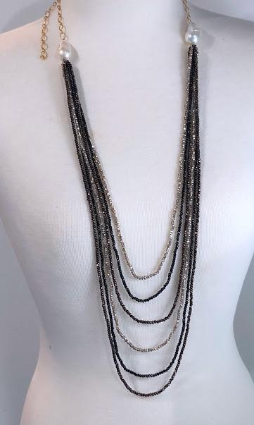 Silver/ Gold, Black and Bronze Crystal layered necklace with 2 Baroque Pearls; 27