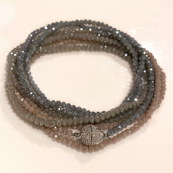 Nude/ Grey/Cement Colored Crystals - Ombre Transformer has a Silver Magnetic Clasp