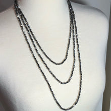 "Load image into Gallery viewer, Stunning 77"" Silver Crystal Faceted Rondelle Infinity Necklace!!"
