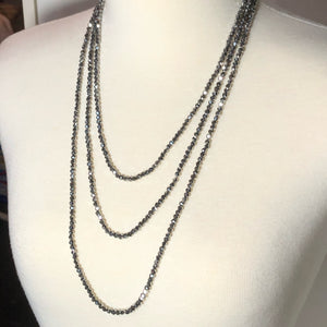 "Stunning 77"" Silver Crystal Faceted Rondelle Infinity Necklace!!"