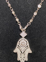 Load image into Gallery viewer, This Cubic Zirconia Necklace with Unique Hamsa Pendant; 18""