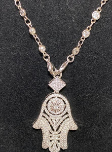 This Cubic Zirconia Necklace with Unique Hamsa Pendant; 18""
