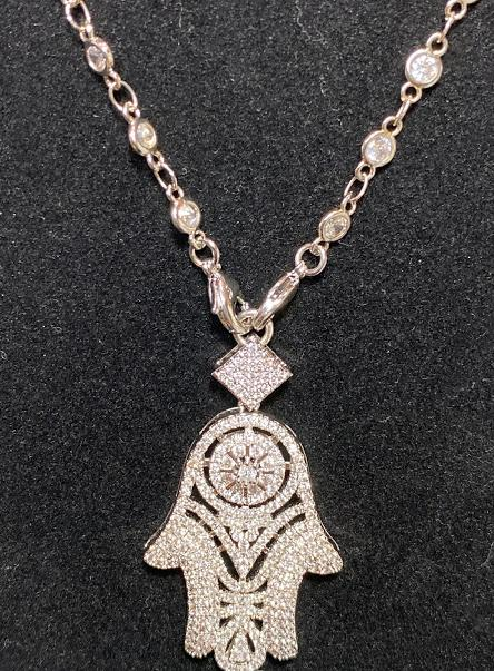 This Cubic Zirconia Necklace with Unique Hamsa Pendant; 18