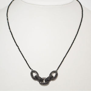 Black on Black Spinel Statement Choker Necklace; 18""
