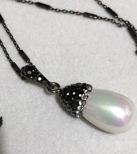 Load image into Gallery viewer, Hematite Encrusted Pearl Pendant on an Italian Sterling Silver Chain; 20""