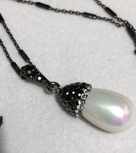 Hematite Encrusted Pearl Pendant on an Italian Sterling Silver Chain; 20""