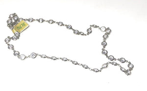 "Rhodium Plated Large (1/4"") cubic zirconia Necklace; 18"""
