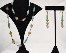"Load image into Gallery viewer, Golden Tiger Eye/ Citrine/ Aquamarine/Turquoise Necklace (36"") & Earring (1.5"") Set"