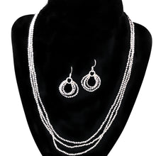 "Load image into Gallery viewer, TeraHertz Triple Strand Necklace twinkles with matching 3 hoop earrings; necklace – 19""; earrings- 1"""