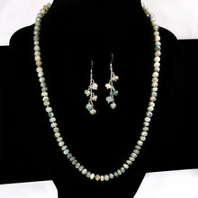 Load image into Gallery viewer, Exquisite and Exclusive!!! This Mystic coated White Sapphire hand knotted necklace/earring set is a rare treasure.