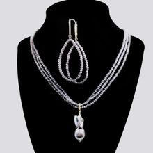 "Load image into Gallery viewer, Denim Blue Luminous Triple Strand Crystal Necklace/Earring Set; Peacock Baroque Pearl; 18""; Earrings: 2"""