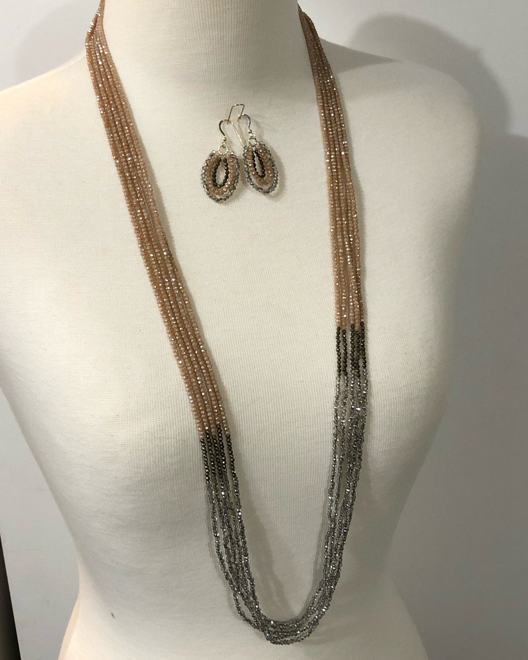 Truly Beautiful And Elegant 5 Strand Crystal And Pyrite Necklace/earring Set
