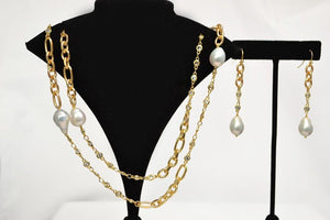 "Matte Gold Necklace with Baroque Pearls With 2"" Matching Earrings; 36"""