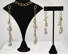 "Load image into Gallery viewer, Matte Gold Lariat (44"") And Earring (3"") Set with a Variety of White Baroque Pearls"
