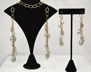 "Matte Gold Lariat (44"") And Earring (3"") Set with a Variety of White Baroque Pearls"