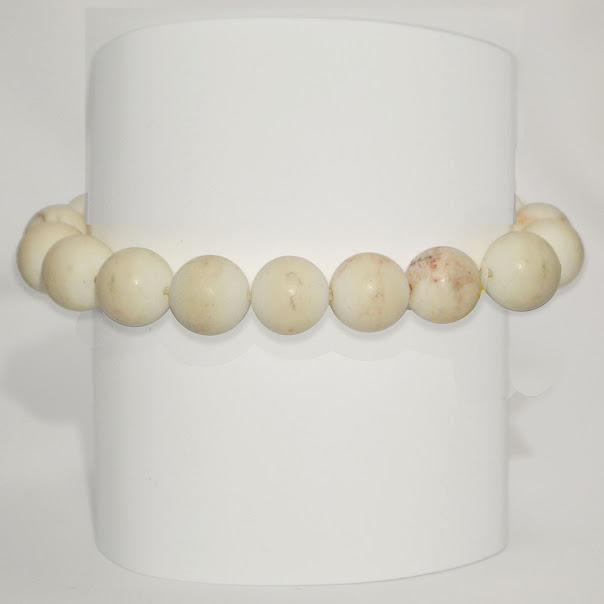 Natural Matte Finish White Turquoise Stretch Bracelet