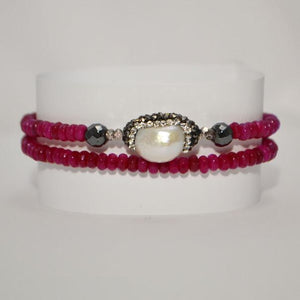 Ruby Red Jade Transformer - Necklace/Bracelet; Pearl Accent