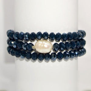 Gorgeous Midnight Blue Triple Stretch Bracelet; Natural Pearl Focal