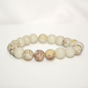 Natural Polished White Turquoise Stretch Bracelet