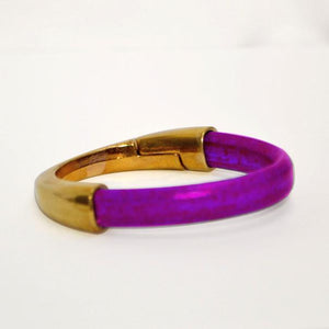 Magenta Purple Regaliz Leather Bracelet with Gold Half Cuff Magnetic Clasp