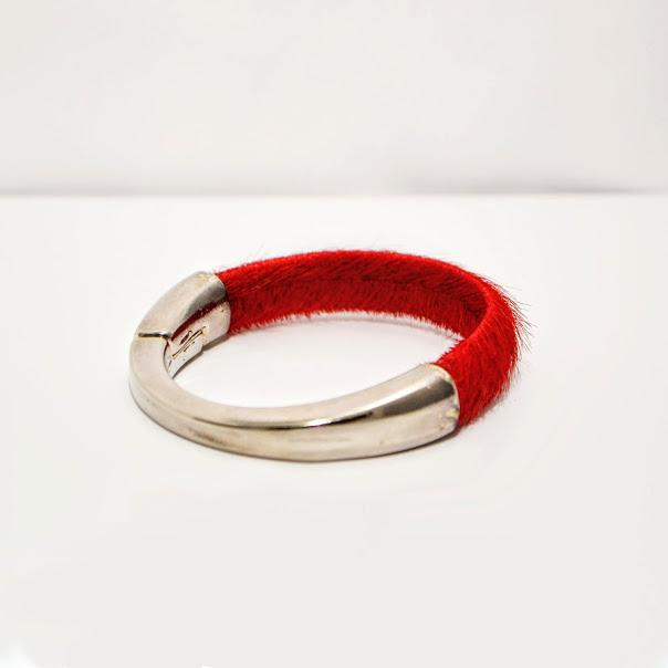 Bright Red Colt Hair Licorice Leather Bracelet; Silver Half Cuff Magnetic Clasp