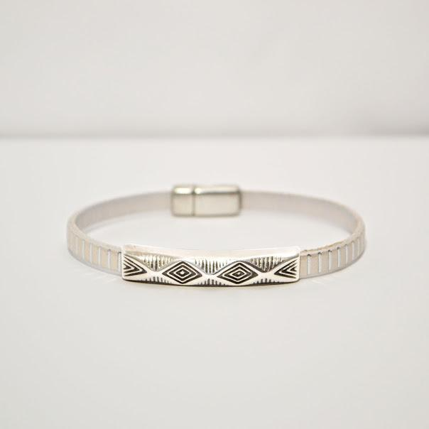Delicate Silver Stripe 5mm Leather Bracelet With 1.5