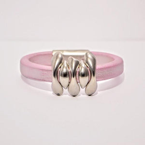 Pink Frosted Greek Regaliz Leather; 5 Zamak Sliders; Magnetic Clasp