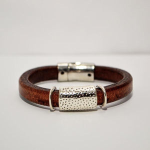 Brown Regaliz Leather Bracelet with Silver Focal and Sliders; Magnetic Clasp
