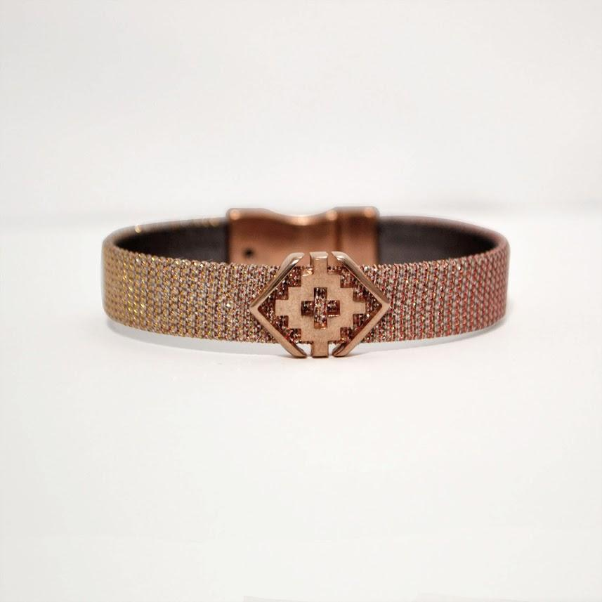 Iridescent Rose Flat Leather Bracelet; Greek Cross Focal & Magnetic Clasp