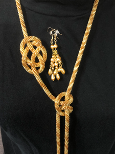 Dramatic hand crocheted bead lariat – exclusive design and versatile with matching earrings