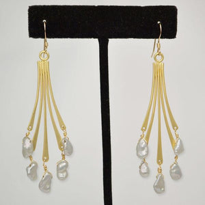 Matte Gold Earrings; Heishi Natural Fresh Water Pearls; 2.5""