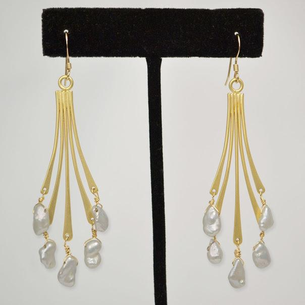 Matte Gold Earrings; Heishi Natural Fresh Water Pearls; 2.5