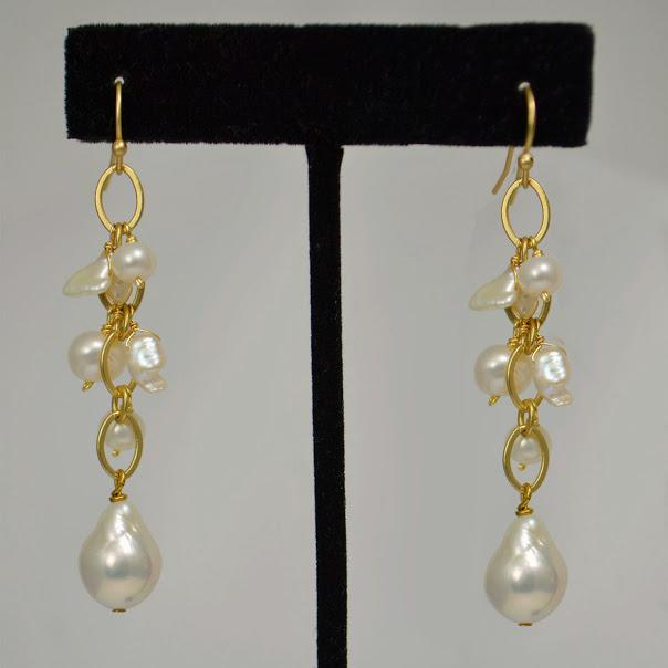 Handcrafted Matte Gold Earrings and Chain; Heishi And Baroque Pearls; 2.5