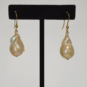 Natural Baroque Pearl Wrapped With 14k Gold Wire; 1""