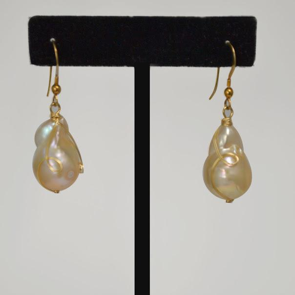 Natural Baroque Pearl Wrapped With 14k Gold Wire; 1
