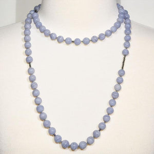 Blue Lace Agate Necklace with Sterling Silver Accents; 42""