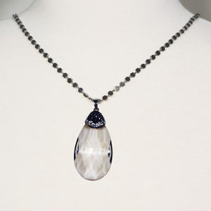 Hematite Necklace, Unique Faceted Tear Drop Quartz Pendant; 39""