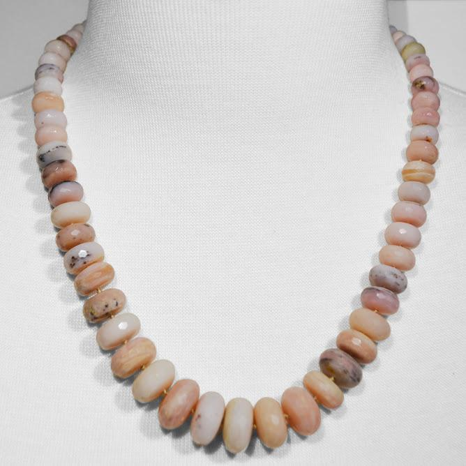 STUNNING Natural Pink Opal Necklace; 21
