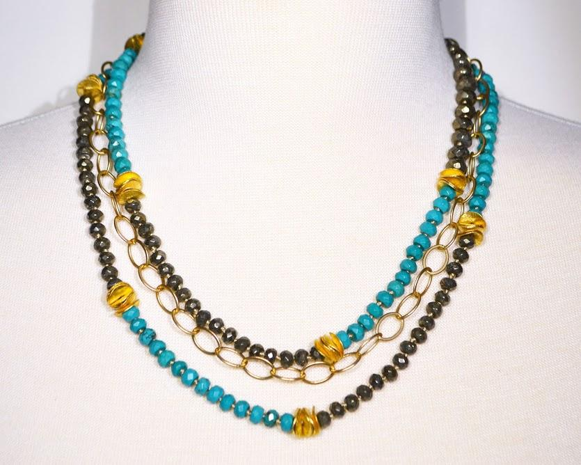 Triple Strand Necklace of Turquoise, Pyrite and Matte Gold Chain; 18