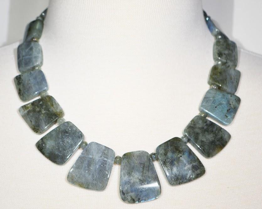 Unusual Flat Graduated Natural Labradorite Necklace: 18