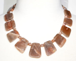 Make A Statement - Beautiful Graduated Natural Pink Moonstone Necklace: 18""