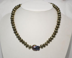 Pyrite Necklace with A Stunning Natural Peacock Baroque Pearl; 16""