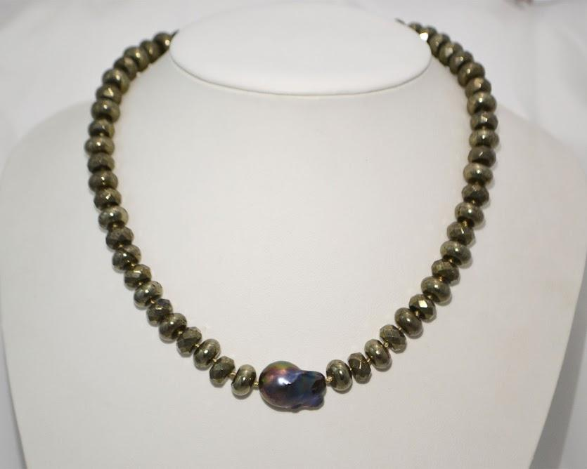 Pyrite Necklace with A Stunning Natural Peacock Baroque Pearl; 16