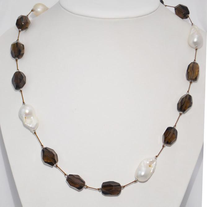 XL Smoky Quartz Necklace With 6 XL White Baroque Pearls; 36