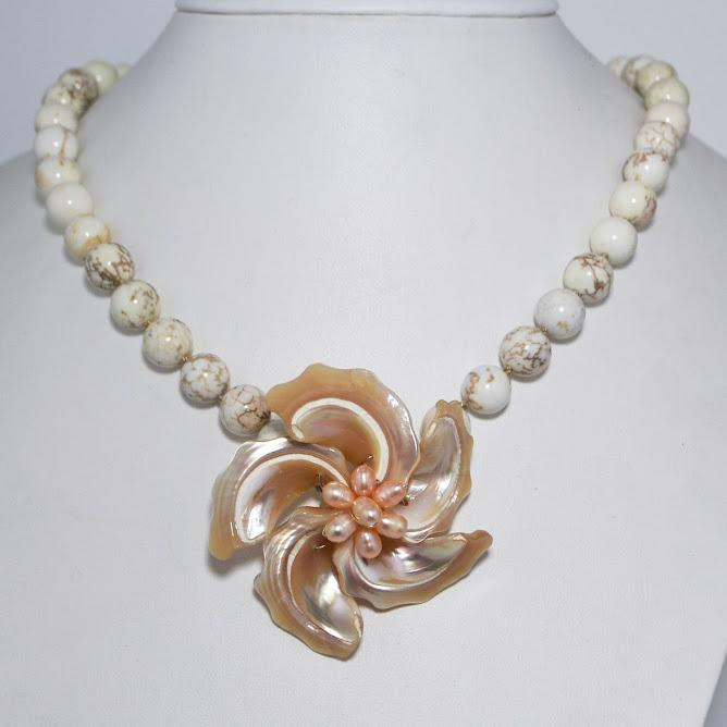 Smooth White Turquoise Necklace, Mother of Pearl Flower Focal; 19