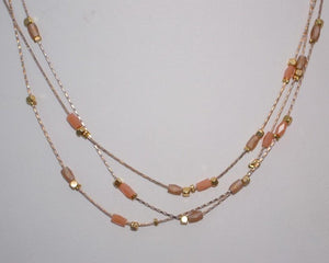 Pink Moonstone Baguettes, Gold Nuggets Triple Layered Necklace; 16""