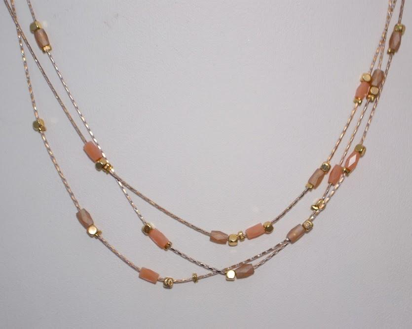 Pink Moonstone Baguettes, Gold Nuggets Triple Layered Necklace; 16