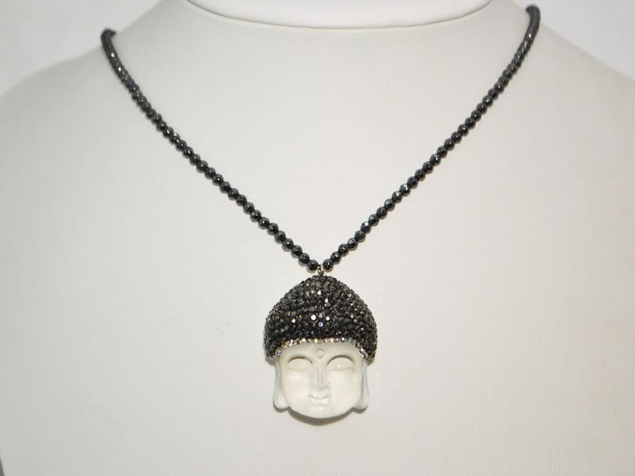 Hematite Necklace with Frosted Quartz Buddha Pendant; 20